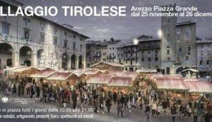 Mercatini di Natale ad Arezzo. Villaggio tirolese in piazza Grande